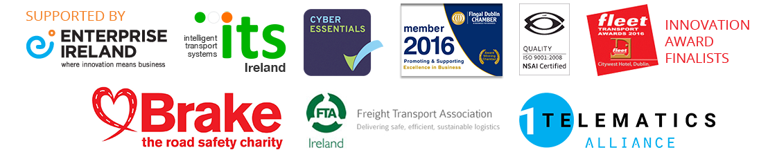 Enterprise Ireland, Intelligent Transport System, Cyber Essentials, Fingal Dublin Chamber, ISO9001 Certified, Fleet Transport Awards 2016, Brake - the road  safety charity, Freight Transport Association, 1 Fleet Alliance