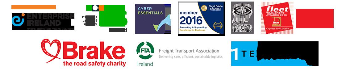 Enterprise Ireland, Intelligent Transport System, Cyber Essentials, Fingal Dublin Chamber, ISO9001 Certified, Fleet Transport Awards 2016, Brake - the road  safety charity, Freight Transport Association, 1 Fleet Alliance
